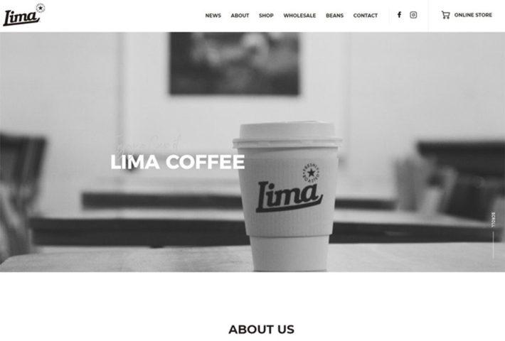 Lima coffeeショップサイト